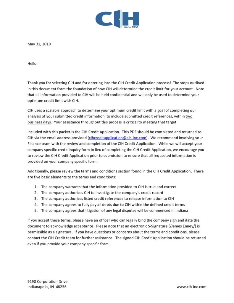 Credit Application Cover Letter