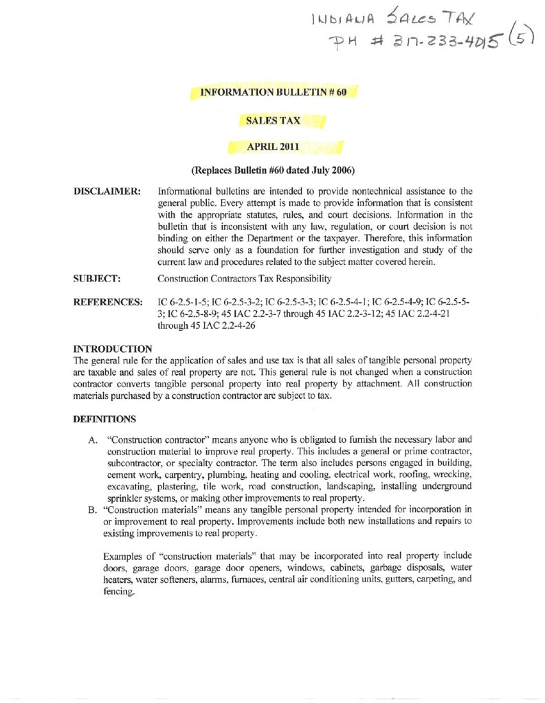 Indiana Information Bulletin: Construction Contractors Tax Responsibility